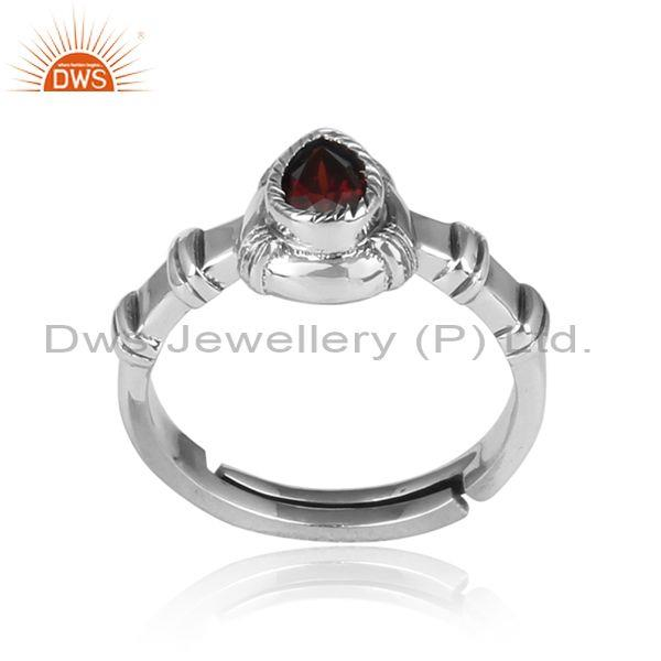 Pear Shaped Red Garnet Set Oxidized Silver Handmade Ring