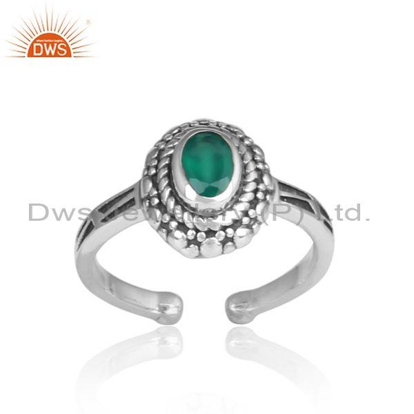 Oval Cut Green Onyx Set Oxidized Silver Handmade Ethnic Ring
