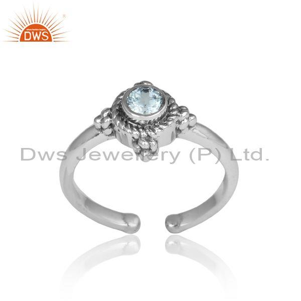 Blue Topaz Set Fancy Oxidized Silver Adjustable Ethnic Ring