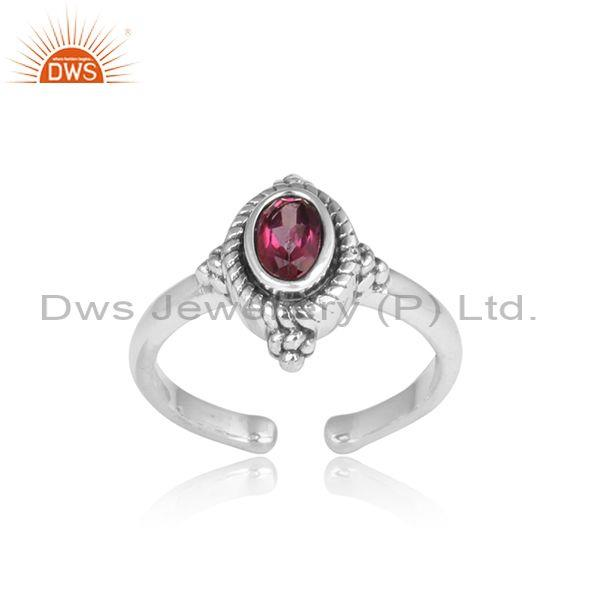 Oval Pink Topaz Fancy Oxidized 925 Silver Adjustable Ring