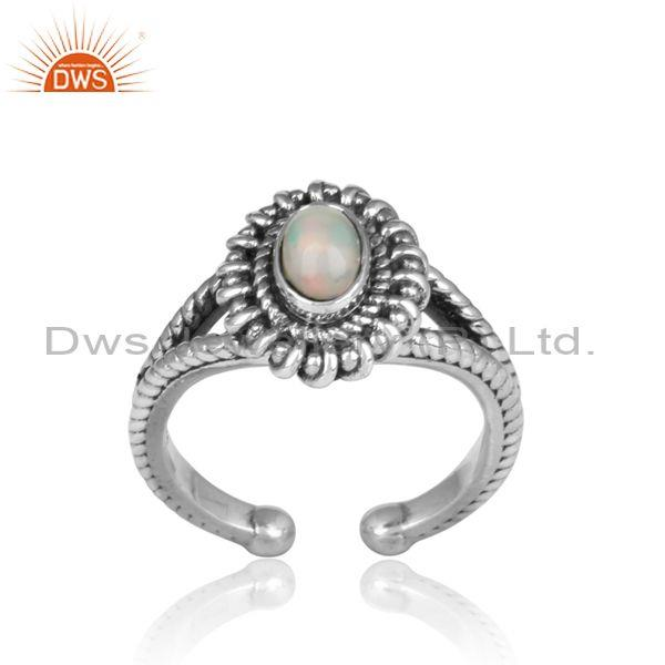 Oval Cut Ethiopian Opal Set Oxidized Silver Split Shank Ring