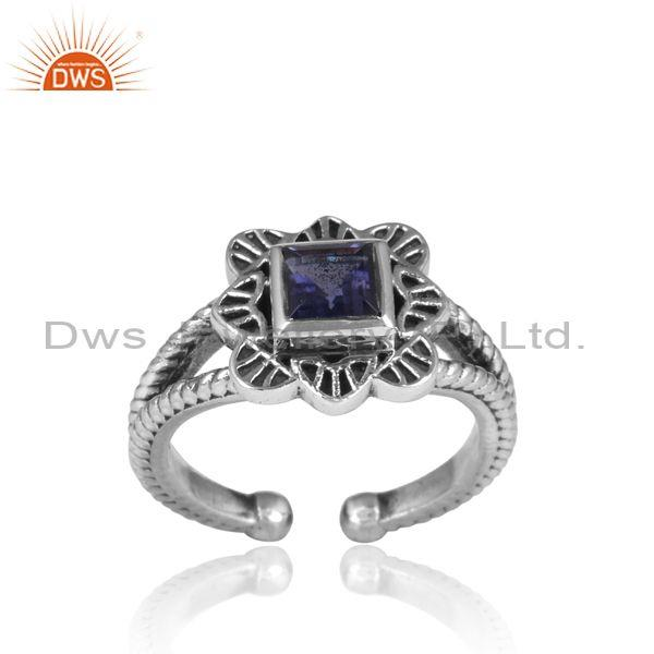 Square iolite set oxidized silver floral split shank ring
