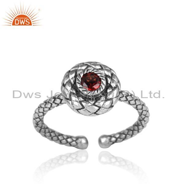 Round Red Garnet Set Oxidized Silver Handmade Twisted Ring