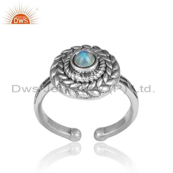 Ethiopian Opal Set Handmade Oxidized Silver Textured Ring