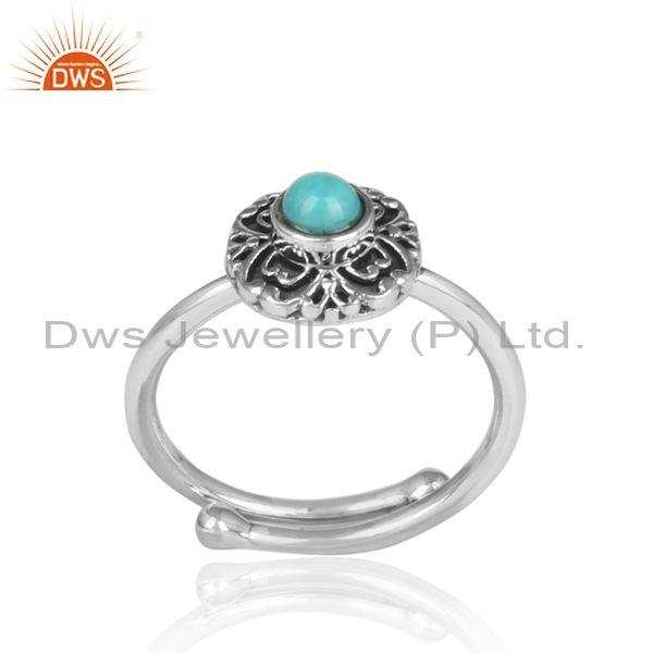 Arizona Turquoise Set Handmade Oxidized Silver Textured Ring
