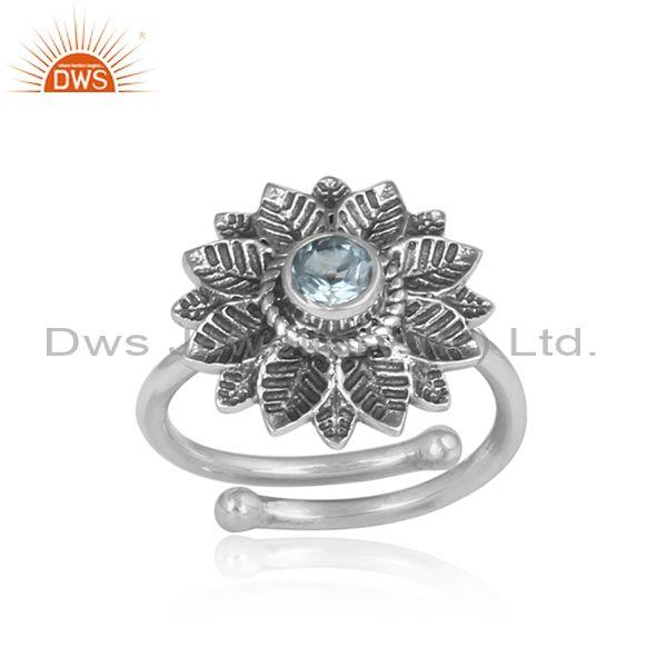 Handmade Blue Topaz Oxidized Silver Floral Statement Ring