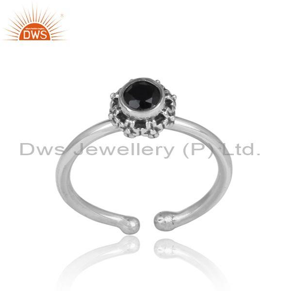 Round black onyx set oxidized silver casual handmade ring