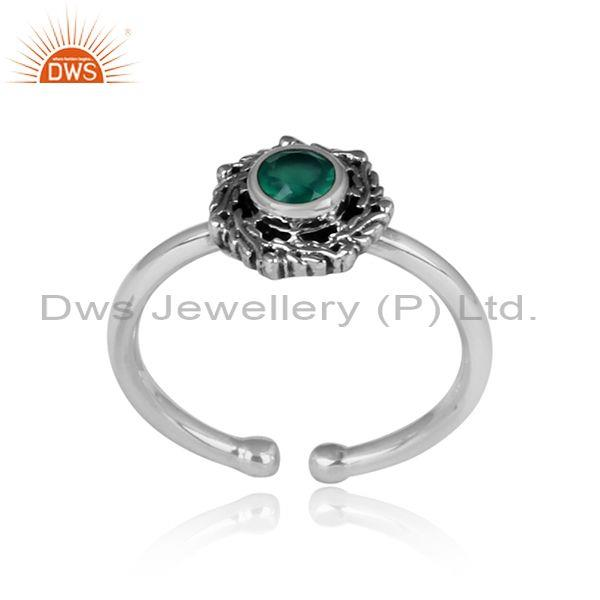Round Green Onyx Set Oxidized Silver Casual Handmade Ring
