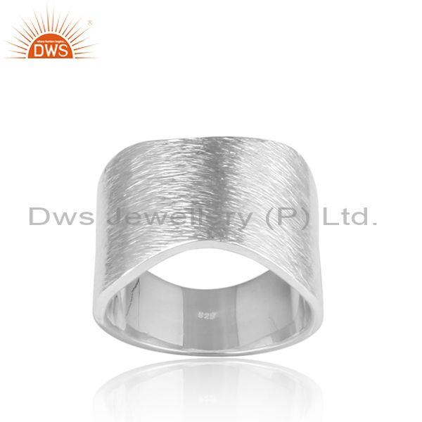 Hammered fine 925 sterling silver bold statement band ring