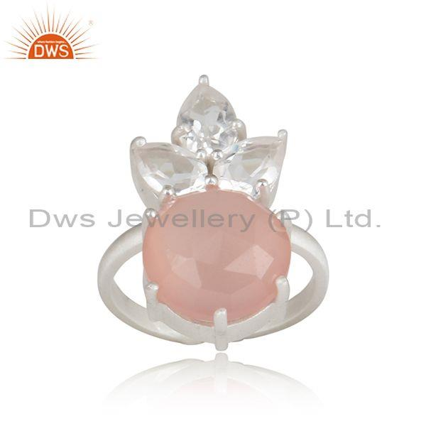 Rose chalcedony and crystal quartz set fine 925 silver ring