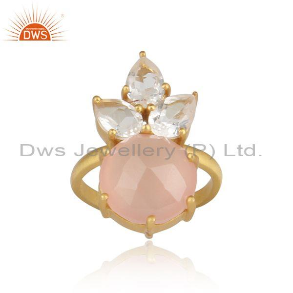 Rose Chalcedony And Crystal Quartz Set Gold On Silver Ring