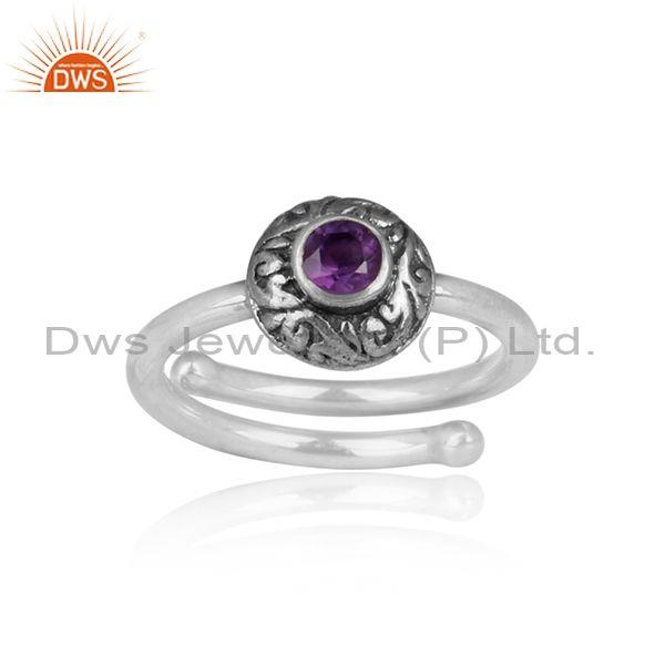 Amethyst Set Handmade Round Shaped Oxidized Silver Ring