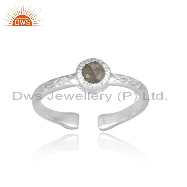 Labradorite Set Hand Hammered Fine 925 Silver Fancy Ring