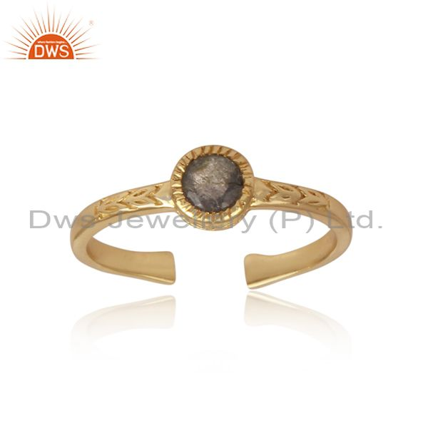 Round cut labradorite set gold on 925 silver statement ring