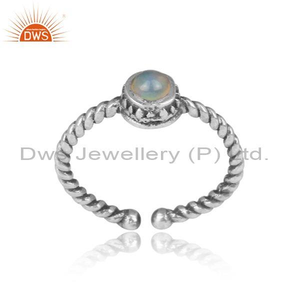 Ethiopian opal set oxidized silver handmade twisted ring
