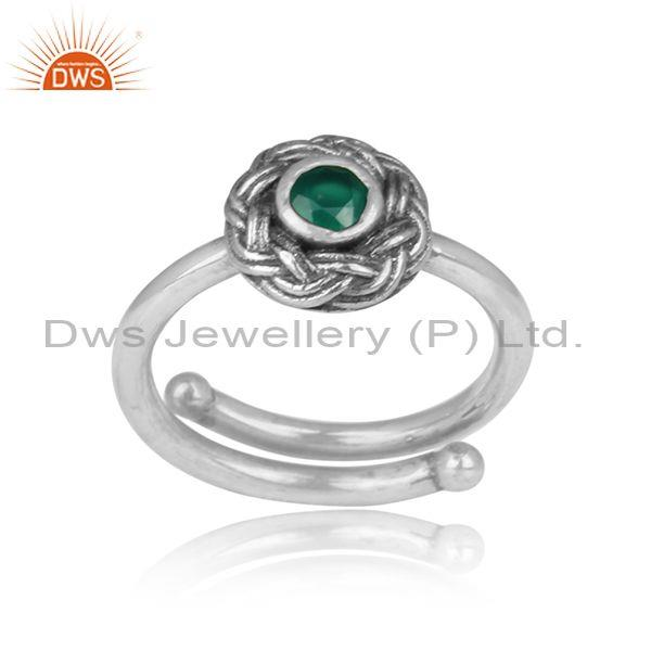 Green Onyx Set Floral Crown Oxidized Silver Handmade Ring