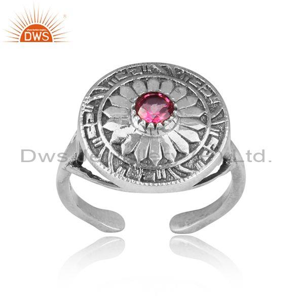 Pink topaz set oxidized silver handmade traditional ring