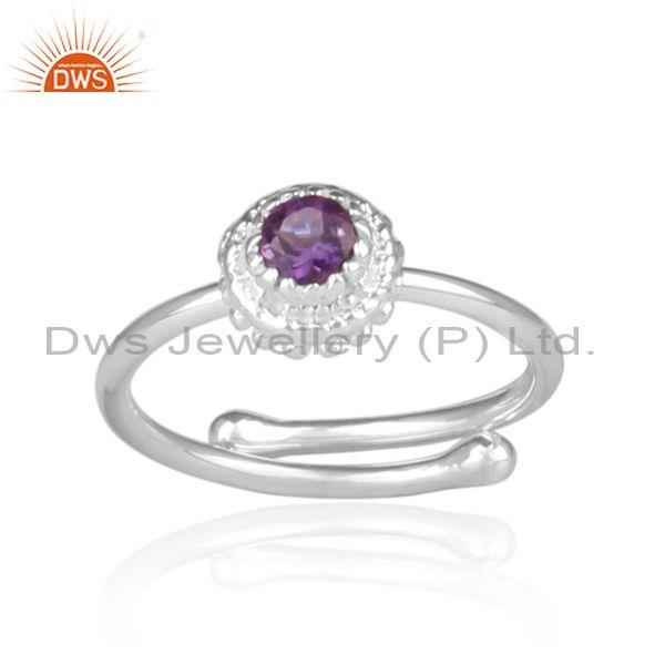 Amethyst set fine sterling silver handmade traditional ring