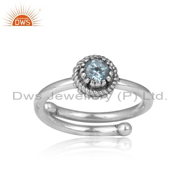 Blue Topaz Set Oxidized Silver Handmade Crown Shaped Ring