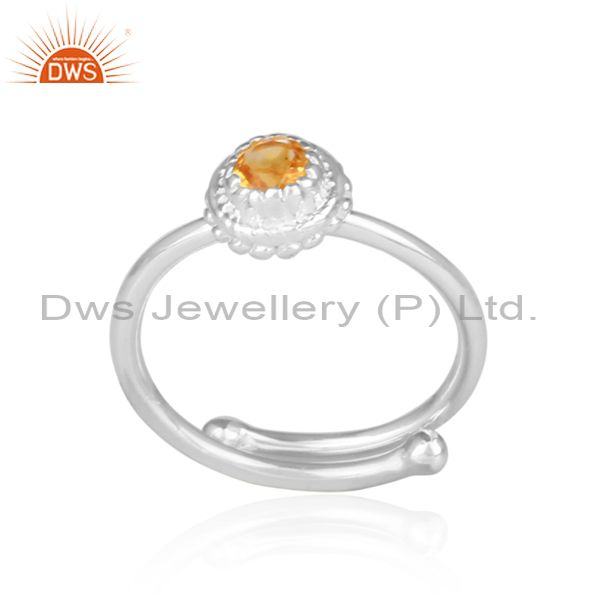 Citrine set handmade fine 925 sterling silver crown ring