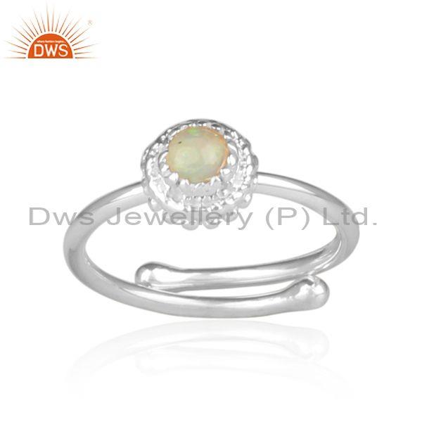 Ethiopian Opal Set Fine Sterling Silver Handmade Crown Ring