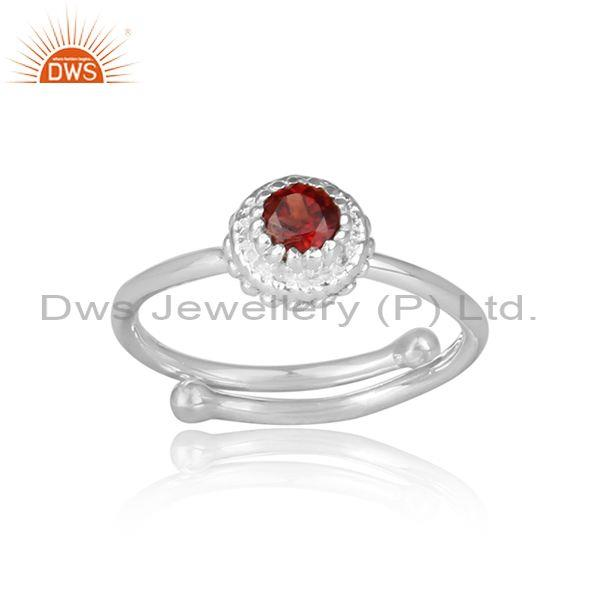 Red garnet set handmade fine 925 sterling silver crown ring