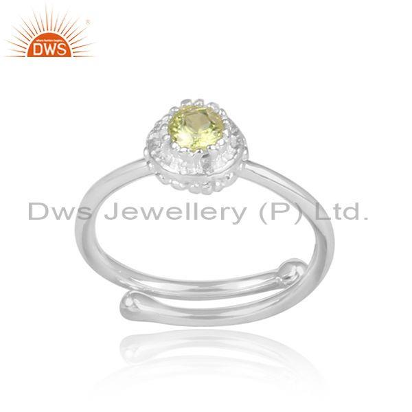 Peridot set fine 925 silver handmade crown statement ring
