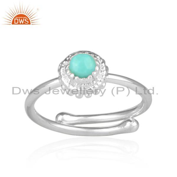 Arizona turquoise set fine sterling silver crown shaped ring