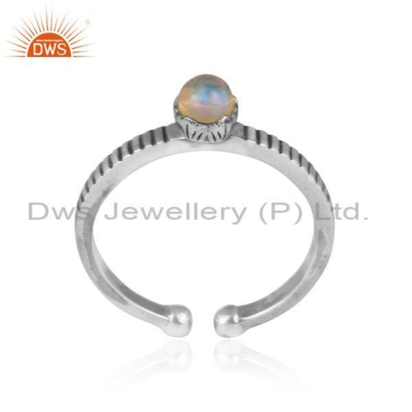 Ethiopian opal set oxidized silver crown shaped boho ring