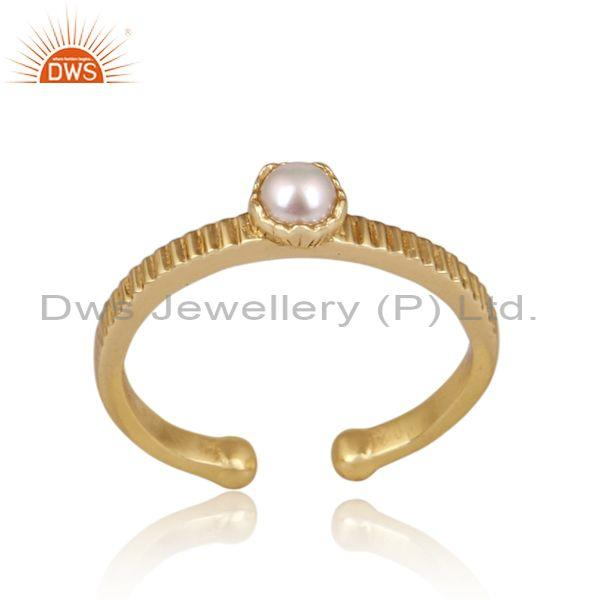 Pearl set hand hammered fine 925 sterling silver fancy ring
