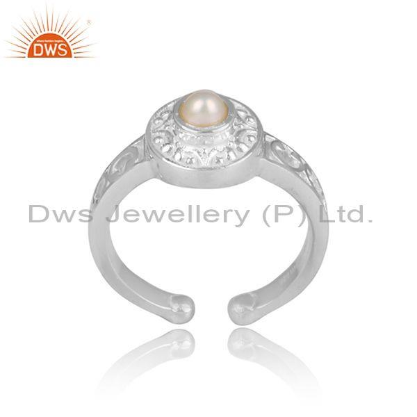 Pearl Set Fine 925 Sterling Silver Fancy Detailed Crown Ring