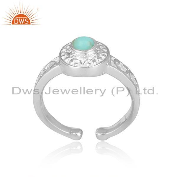 Arizona turquoise set fine silver fancy detailed crown ring