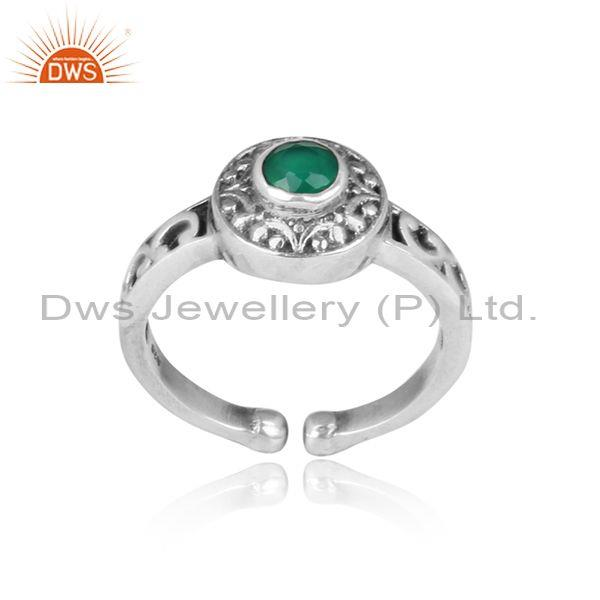 Green Onyx Set Oxidized Silver Crown Shaped Statement Ring