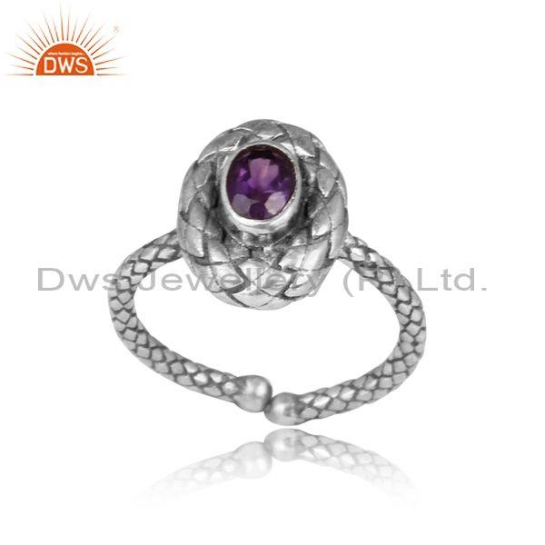 Oval cut amethyst set hand hammered oxidized 925 silver ring