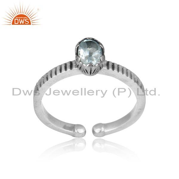 Round Blue Topaz Set Hand Hammered Oxidized 925 Silver Ring