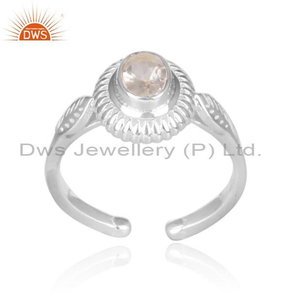 Oval crystal quartz set fine sterling silver wrapped ring