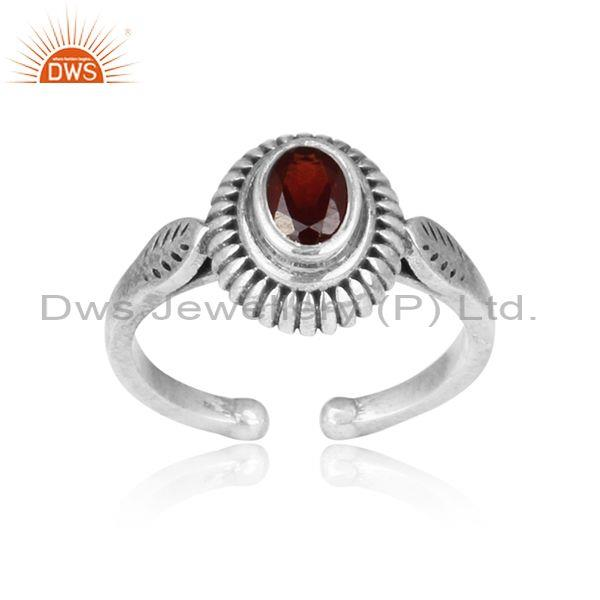 Oval red garnet set hand hammered oxidized 925 silver ring