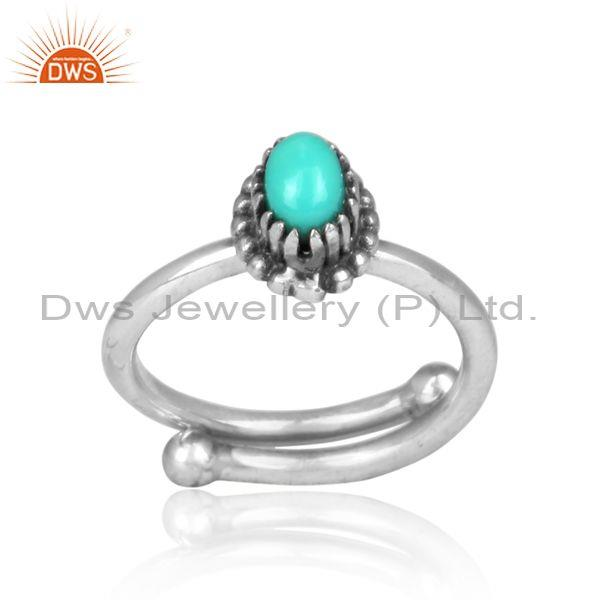 Oval Arizona Turquoise Hand Hammered Oxidized Silver Ring