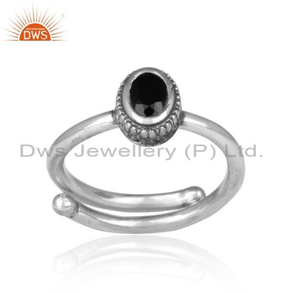 Oval cut black onyx set hand hammered oxidized silver ring