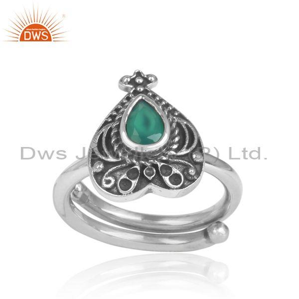 Green onyx set handmade traditional oxidized silver ring