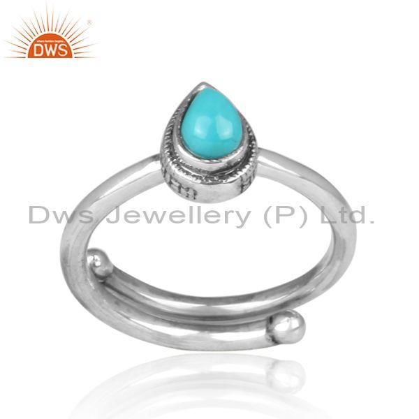Tear drop arizona turquoise set oxidized silver ethnic ring