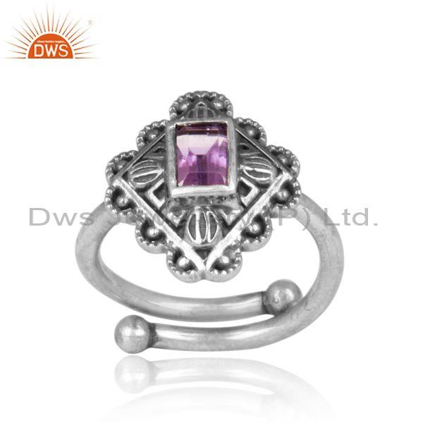 Square cut amethyst set oxidized 925 silver traditional ring