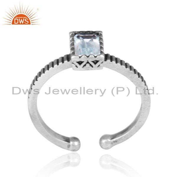 Square cut blue topaz set oxidized silver traditional ring
