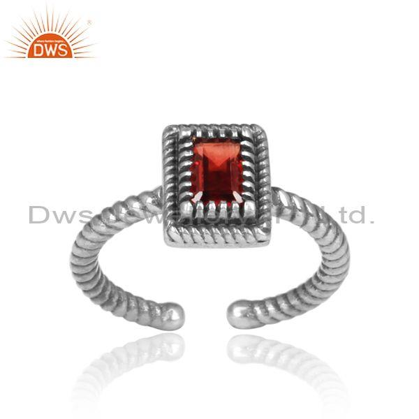 Rectangular Cut Red Garnet Set Oxidized Silver Twisted Ring