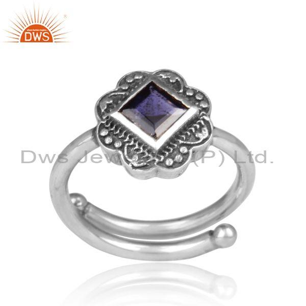 Iolite set oxidized silver handmade traditional design ring