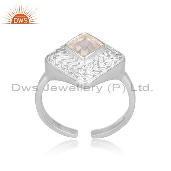 Square cut crystal quartz set fine 925 sterling silver ring