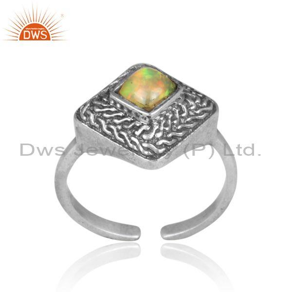 Ethiopian opal set oxidized silver handmade traditional ring