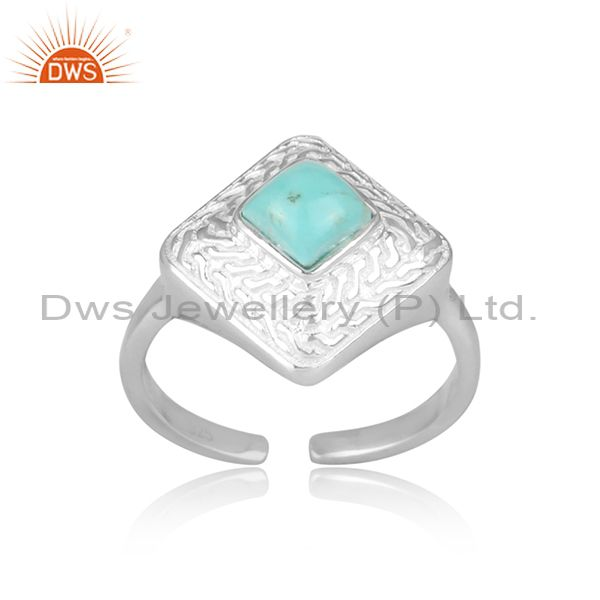 Arizona Turquoise Set Fine 925 Sterling Silver Ethnic Ring