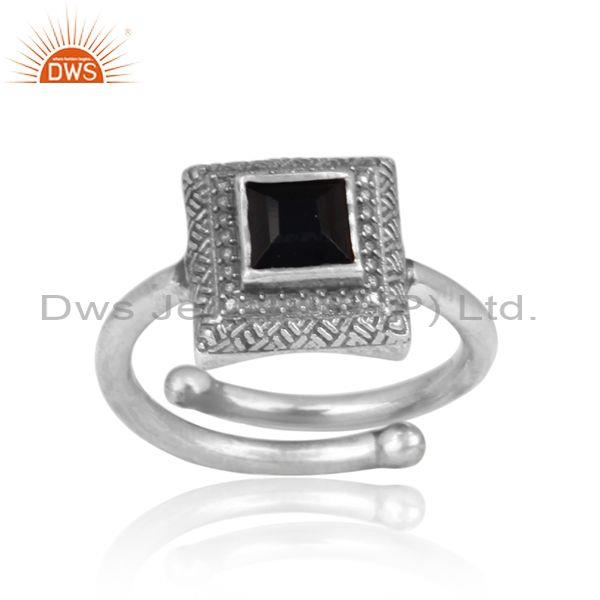 Black onyx set oxidized silver handmade traditional ring