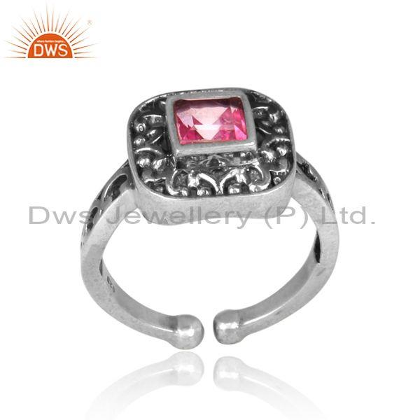 Pink Topaz Set Oxidized 925 Silver Handmade Traditional Ring